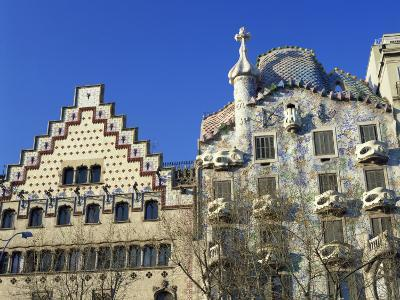 Casa Batllo by Gaudi and Casa Amatller by Cadafalch, in Barcelona, Cataluna, Spain