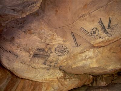 Aboriginal Charcoal Paintings at Yourambulla Rock Shelter, South Australia, Australia, Pacific