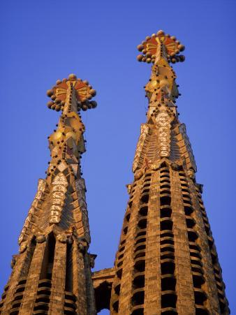Spires of the Sagrada Familia, the Gaudi Cathedral, in Barcelona, Cataluna, Spain, Europe