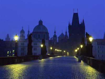 Charles Bridge at Night and City Skyline with Spires, Prague, Czech Republic