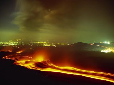 Lava Flow from the Monti Calcarazzi Fissure on the Flank of Mount Etna in 2001 Sicily, Italy