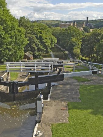 Five Lock Ladder on the Liverpool Leeds Canal, Including a Mill, at Bingley, Yorkshire, England, UK