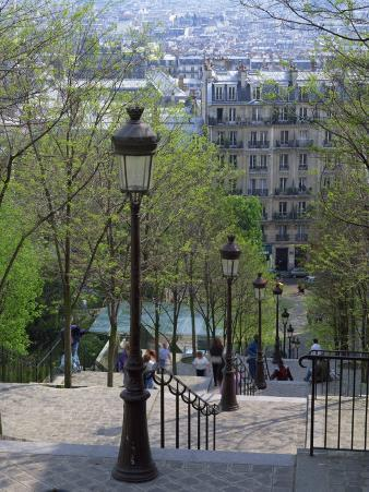 Looking Down the Famous Steps of Montmartre, Paris, France, Europe