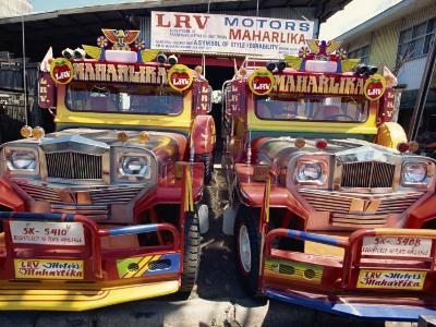 Pair of Customised Jeepney Trucks, Bacolod City, Philippines, Southeast Asia