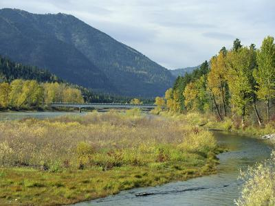Clark Fork River in the Fall, at Tarkio, Rocky Mountains, West Montana, USA