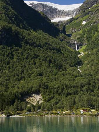Green Lake, Waterfall, and Glacier Above Olden, Fjordland, Norway, Scandinavia, Europe