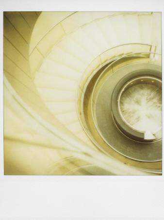 Polaroid of View Looking Down on Spiral Staircase in the Louvre Museum, Paris, France, Europe
