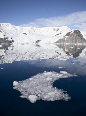 Ice in Neko Harbor with Glaciers and Snow-Covered Mountains, Antarctic Peninsula, Antarctica