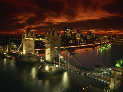Aerial View over Tower Bridge, London, England, United Kingdom, Europe