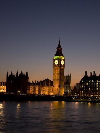 Big Ben and the Houses of Parliament at Night, Westminster, London, England, UK