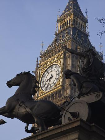 Big Ben Seen Through the Statue of Boudica, Westminster, London, England, United Kingdom