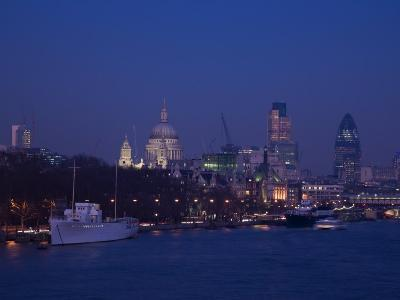 St. Paul's Cathedral and the City of London Skyline at Night, London, England, United Kingdom