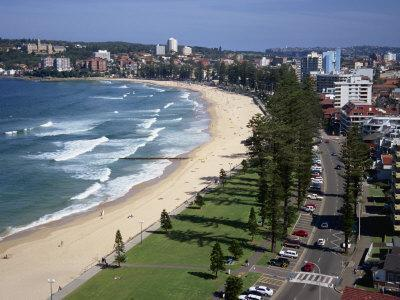 Aerial of the Beach and Road at Manly, Sydney, New South Wales, Australia, Pacific