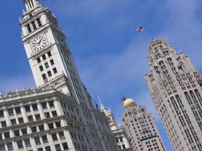 Wrigley Building and Tribune Tower, North Michigan Avenue, Magnificent Mile, Chicago, Illinois, USA