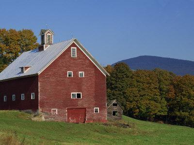 Exterior of a Large Barn, Typical of the Region, on a Farm in Vermont, New England, USA