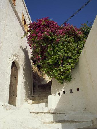 Steps in a Narrow Backstreet, Lindos Town, Rhodes, Dodecanese Islands, Greek Islands, Greece