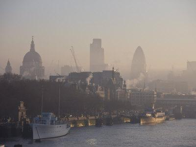 Early Morning Fog Hangs over St. Paul's and the City of London Skyline, London, England, UK