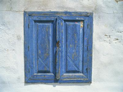 Blue Window Shutters and White Walls, Simi, Dodecanese Islands, Greek Islands, Greece