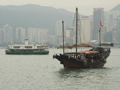One of the Last Remaining Chinese Sailing Junks on Victoria Harbour, Hong Kong, China