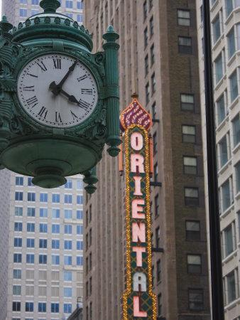 Marshall Field Building Clock and Oriental Theatre Sign, Theatre District, Chicago, Illinois, USA