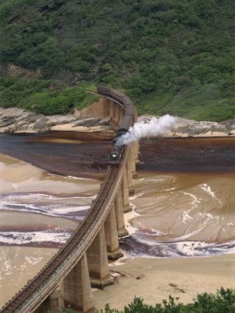 Outeniqua Choo Tjoe Train Crossing the Kaimans River Bridge, South Africa, Africa