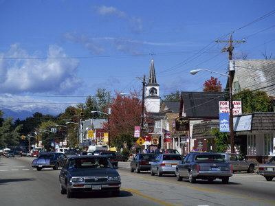 Street Scene with Cars in the Town of North Conway, New Hampshire, New England, USA