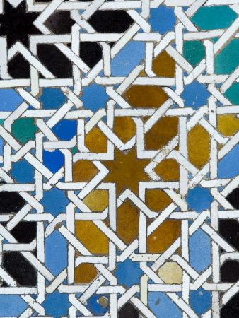 Azulejos Tile Work in the Mudejar Style, Real Alcazar, Seville, Andalusia, Spain