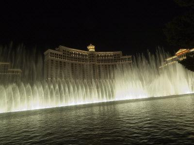 Bellagio Hotel at Night with its Famous Fountains, the Strip, Las Vegas, Nevada, USA