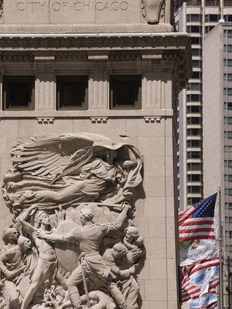 Bas Relief on Michigan Avenue Bridge Depicting Moments in the Citys History, Chicago, Illinois, USA