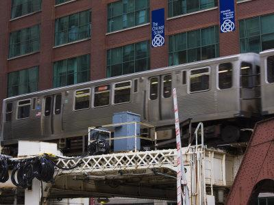 An El Train on the Elevated Train System, Chicago, Illinois, USA
