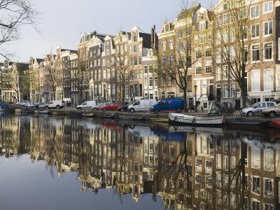 Houses Reflecting in the Singel Canal, Amsterdam, Netherlands, Europe
