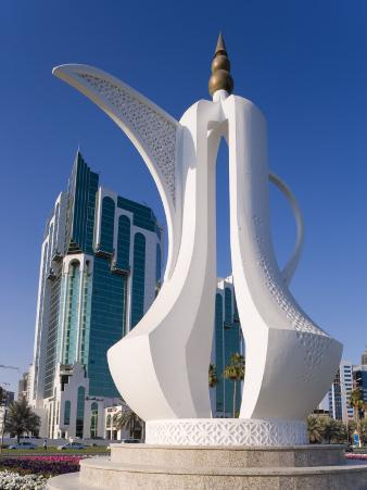 Twin Towers and Teapot Sculpture at Eastern End of the Corniche, Ad Dawhah, Doha, Qatar