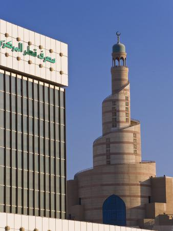 Qatar Central Bank and the Spiral Mosque of the Kassem Darwish Fakhroo Islamic Centre, Doha, Qatar