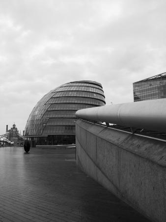 Black and White Image of City Hall by the River Thames, London, England, United Kingdom, Europe