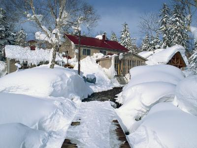 Asanidake Youth Hostel in Winter under Snow, on Hokkaido, Japan