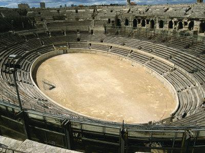 Roman Amphitheatre in Nimes in the Gard Area of Languedoc Roussillon, France, Europe