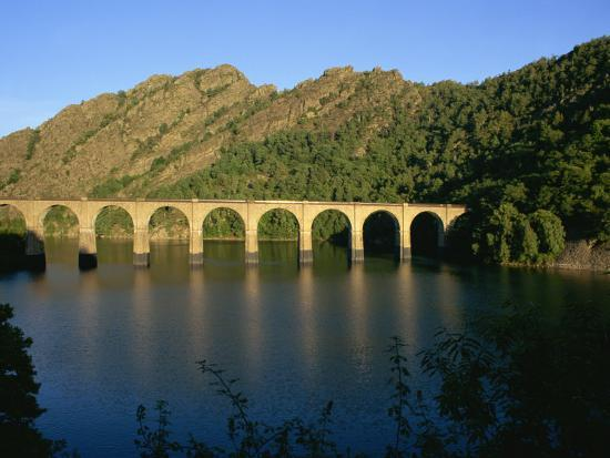 Lac De Villefort and Railway Viaduct, Cevennes, Lozere,  Languedoc-Roussillon, France, Europe