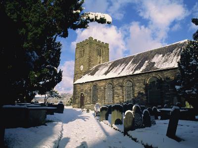 St Mary's Anglican Church in Winter, Dolgellau Town, Gwynedd, Snowdonia National Park, Wales