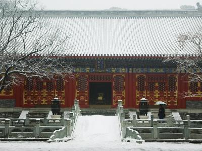 Temple Covered in Snow after Winter Snowfall, Fragrant Hills Park, Western Hills, Beijing, China