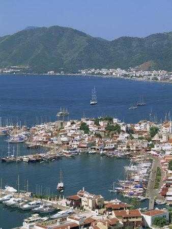Low Aerial View over the Harbour and Town of Marmaris, Anatolia, Turkey Minor, Eurasia