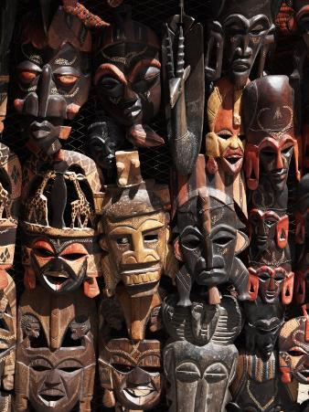 Various African Masks on Sale at Aswan Souq, Aswan, Egypt, North Africa, Africa