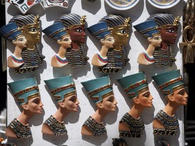 Various Egyptian Badges Depicting Pharaohs, on Sale at Aswan Souq, Aswan, Egypt