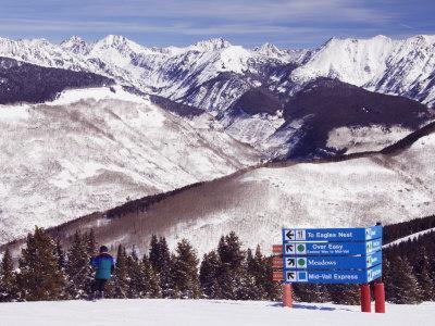 Trail Marker Below the Gore Mountains at Vail Ski Resort, Vail, Colorado, USA