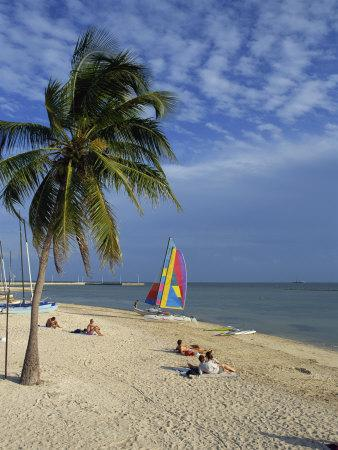 People on the Beach in the Late Afternoon, Key West, Florida, USA