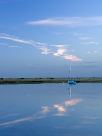 Boat Moored at East Head, West Wittering, Near Chichester, West Sussex, England, United Kingdom