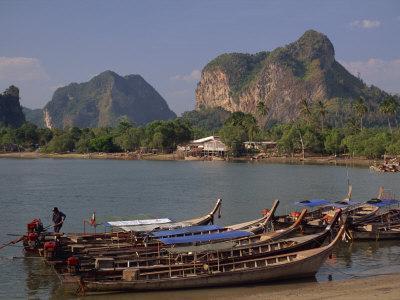 Boats Moored on the Coast at Krabi, Thailand, Southeast Asia