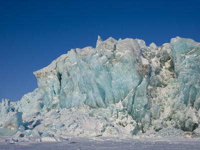 Glacier and Glacier Ice, Billefjord, Svalbard, Spitzbergen, Arctic, Norway, Scandinavia, Europe