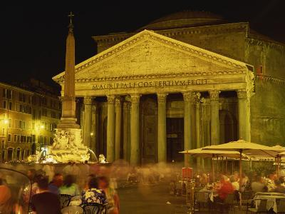 Pantheon Illuminated at Night in Rome, Lazio, Italy, Europe