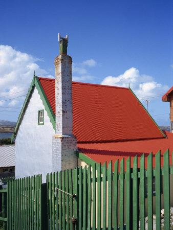 Private House with Red Corrugated Roof and Green Fence, Stanley, Capital of the Falkland Islands
