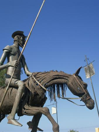 Metal Statue of Don Quixote on His Horse in Caradero, Cuba, West Indies, Caribbean, Central America